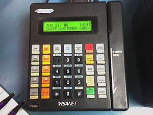 A typical credit card terminal that is still popular today visanet