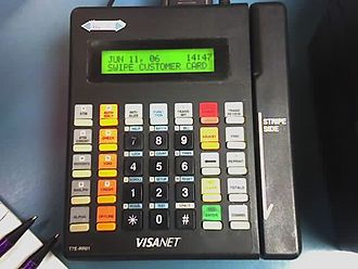 Payment terminal - A typical fixed install card terminal from 2006