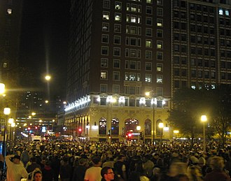 The Blackstone Hotel - View along Michigan Avenue outside of The Blackstone of crowds leaving Grant Park after Barack Obama's 2008 election victory speech