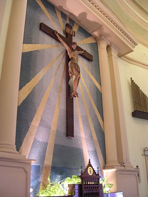 Crucifix on the wall of the sanctuary.