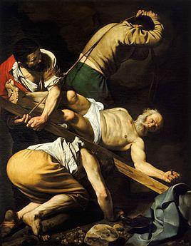 Peinture figurant trois hommes redressant le pied d'une croix en bois sur laquelle un homme âgé, barbu et presque entièrement nu, est cloué. L'arrière-plan est sombre.