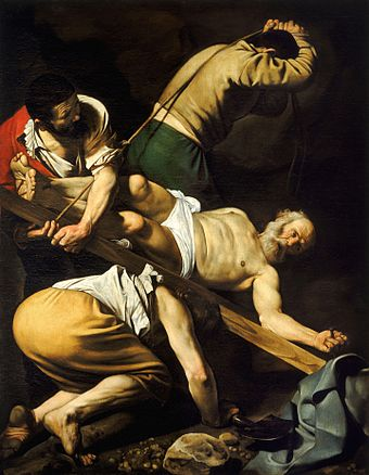 The Crucifixion of Saint Peter (1601) by Caravaggio Crucifixion of Saint Peter-Caravaggio (c.1600).jpg