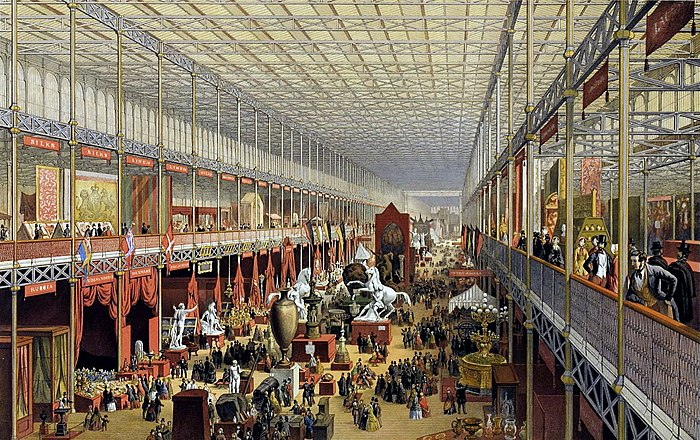 The Great Exhibition in London. Starting during the 18th century, the United Kingdom was the first country in the world to industrialise. Crystal Palace - interior.jpg