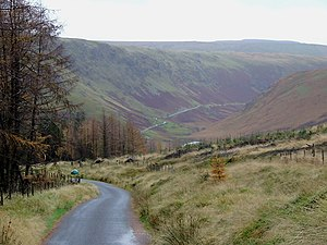 English: Cwm Irfon, Powys The mountain road fr...