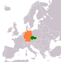 Map indicating locations of Czech Republic and Germany