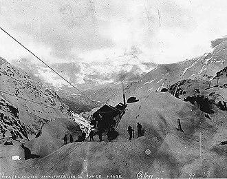 Chilkoot Trail tramways - Aerial tramway powerhouse, Dyea-Klondike Transportation Company, ca. 1898