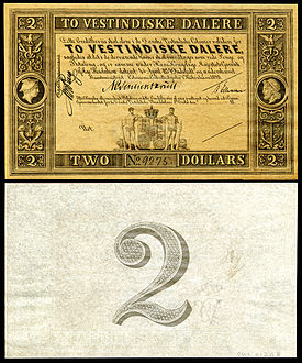 Two-daler banknote from Saint Croix in the Danish West Indies (1898)