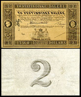 Danish West Indian daler - Image: DWI 8r Danish West Indies (St. Croix) 2 Dalere (1898)