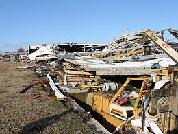 Significant damage, rated high-end EF3, to a facility in Adairsville, Georgia
