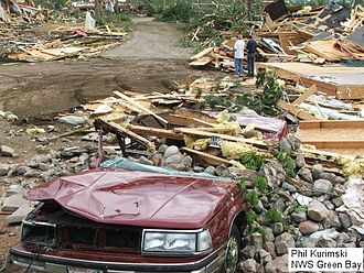 Tornadoes of 2007 - Tornado damage from the EF3 tornado at the Bear Paw Resort in northern Wisconsin.