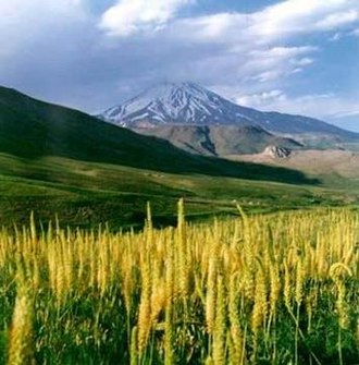 Elburz Range forest steppe - Mount Damavand in the Alborz Mountains of Iran, the tallest mountain in the Middle East.