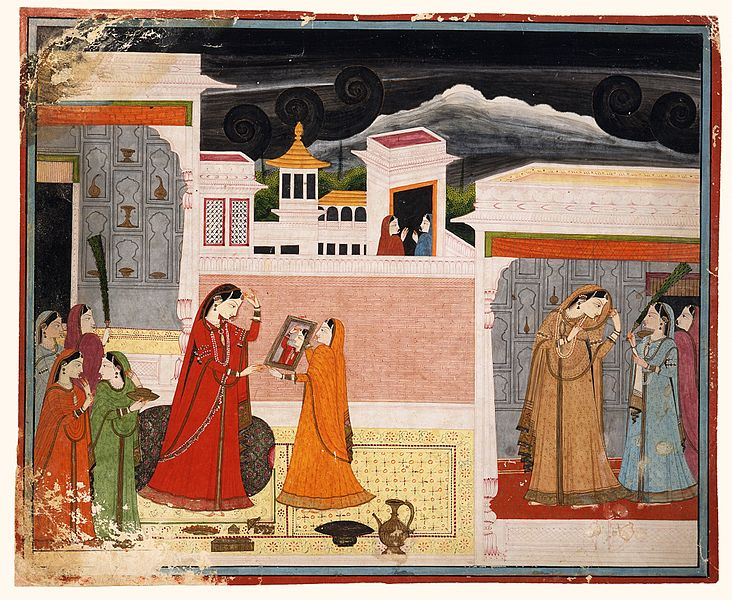 File:Damayanti Looks in the Mirror, Folio from a Nala-Damayanti LACMA M.83.105.6.jpg