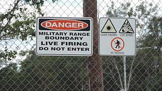 Greenbank, Queensland - Danger sign, Greenbank Military Range, 2014