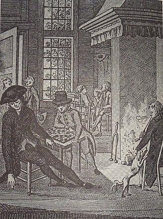 Daniel Cajanus - Daniel Cajanus at the Blauw Jan inn.  Contemporary engraving.