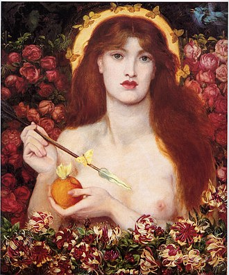 Rose (symbolism) - Venus Verticordia (1868) by Dante Gabriel Rossetti, showing the goddess Aphrodite surrounded by red roses