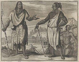 Taiwanese indigenous peoples - Taiwanese aborigines depicted in Olfert Dapper (1670): Gedenkwaerdig bedryf