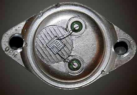 View of the chip in an MJ1000 Darlington transistor MJ1000.jpg