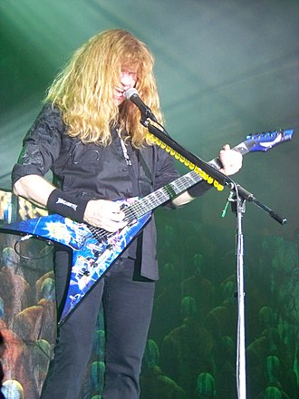 "Dean Guitars - Dean artist Dave Mustaine (left) with his Dean signature VMNT ""Rust in Peace"""