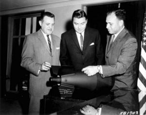 Tactical nuclear weapon - U.S. officials view a W54 nuclear warhead (with a 10 or 20 ton explosive yield) as used on the Davy Crockett recoilless gun. The unusually small size of this tactical nuclear weapon is visible.