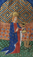 St John the Evangelist depicted in a 14th-century manuscript in the Flemish style
