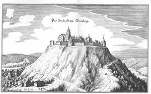 House of Franckenstein - Breuberg Castle, by Merian 1648