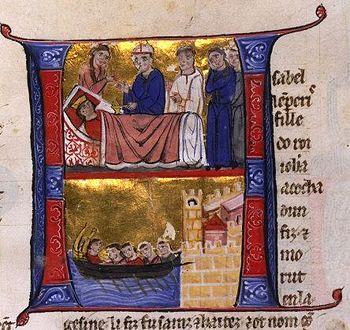 The death of Jolanda of Jerusalem, miniature in a 13th century manuscript