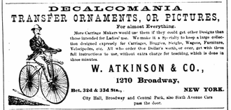 Decalcomania - Advertisement for the decalcomania process in the 1870 New York City directory