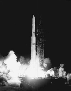 Launch of the first Skynet satellite by Delta rocket in 1969 from Cape Canaveral
