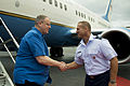 Deputy Defense Secretary Bob Work, left, speaks with Air Force Brig. Gen. Dirk D. Smith, deputy director of operations for U.S. Pacific Command, as he arrives on Joint Base Pearl Harbor-Hickam, Hawaii 140817-F-DT527-110.jpg