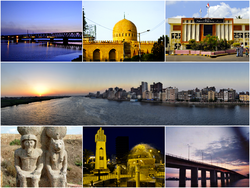 Desouk Bridge (1897) · St. Ibrahim El-Desouki Mosque · Presidency of  Desouk City Nile in Desouk A statue of Ramesses II with Goddess Sekhmet · Memorial for Desouki martyrs in Egyptian-Israeli war 1973 · Desouk New bridge (1989).