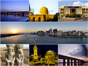 Desouk - Clockwise, from top: Desouk Bridge, Ibrahim El Desouki Mosque, City Hall, Nile in Desouk, a statue of Ramesses II with Goddess Sekhmet, Desouk War Memorial, New Desouk Bridge.