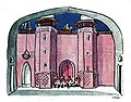 """Dessin d'Ernst Stern pour la scène """"Devant le harem"""" dans Sumurûn de Friedrich Freksa aux Kammerspiele.jpg"""