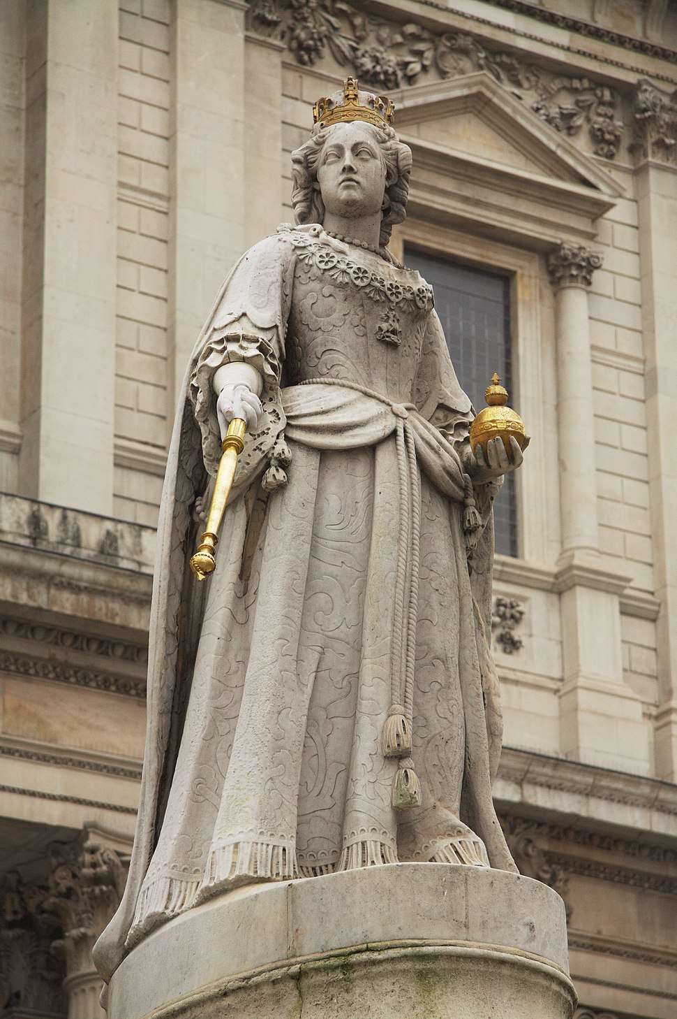 Detail of Anne of Great Britain statue, St Paul's in spring 2013 (1)