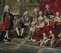 Detail of the 1743 portrait of the Family of Philip V of Spain, (Fernando Prince ofAsturias, King Felipe, Infante Luis Antonio, Queen Elisabeth, Infante Felipe and Princess Louise Élisabeth) L M van Loo.jpg