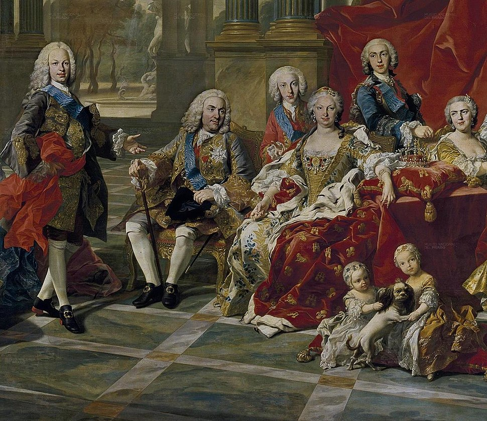 Detail of the 1743 portrait of the Family of Philip V of Spain, (Fernando Prince ofAsturias, King Felipe, Infante Luis Antonio, Queen Elisabeth, Infante Felipe and Princess Louise Élisabeth) L M van Loo