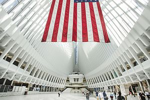 "Dey Street Passageway - At the end of the passageway is the ""Oculus,"" the headhouse of the WTC Transportation Hub."