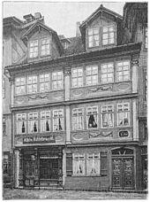 Geburtshaus von Ernst Keil in der Marktstraße in Langensalza; nach einem Foto von Christian Gottfried Bregazzi 1897 wiedergegeben in Die Gartenlaube (Quelle: Wikimedia)