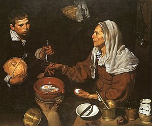 Vieja friendo huevos (1618, English: An Old Woman Frying Eggs)