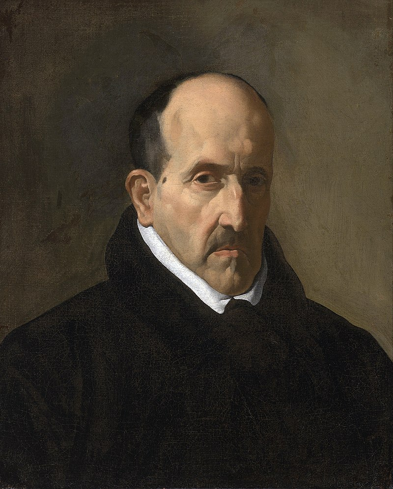 Luis de Góngora (1561-1627), Spanish poet, by Velázquez. Gongorism is a literary style characterized by studied obscurity and by the use of various ornate devices [https://upload.wikimedia.org]