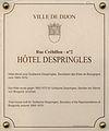 Dijon Hotel Despringles plaque information.jpg
