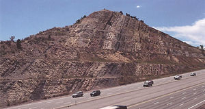 Dinosaur Ridge - Roadcut where I-70 cuts through Dinosaur Ridge