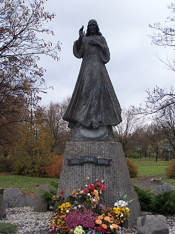 Monument of Divine Mercy in Warsaw - statue