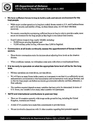 Pentagon military analyst program - An example of the talking points handed out to the analysts. These from July 2003 contend the U.S. had sufficient troops numbers to maintain order after the invasion.