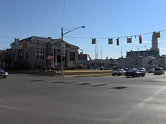 Ohio State Route 47 - Intersection of Main Street and Sandusky Avenue in downtown Bellefontaine, Ohio
