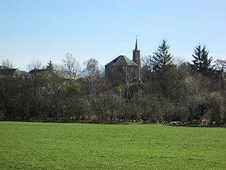 Dreghorn - Ridge seen across Annick Valley Park and the Annick Water