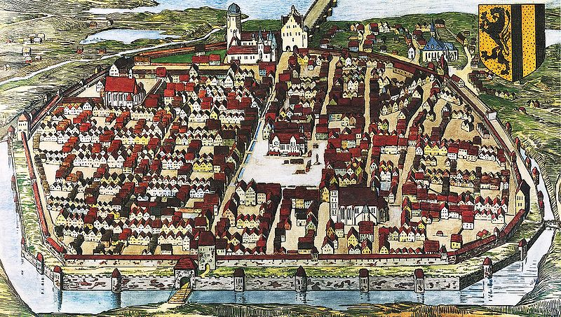 Dresden in 1521 (detail): The earlier church is shown outside the city walls (left of the coat of arms).