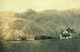 Dust storms were frequent during the depression; this one occurred in Texas in 1935.