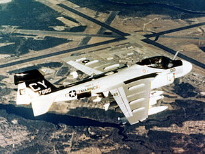 Northrop Grumman EA-6B Prowler - A Marine EA-6A Intruder over Cherry Point, 1978. The two-seat EA-6A would be followed by the four-seat EA-6B Prowler.