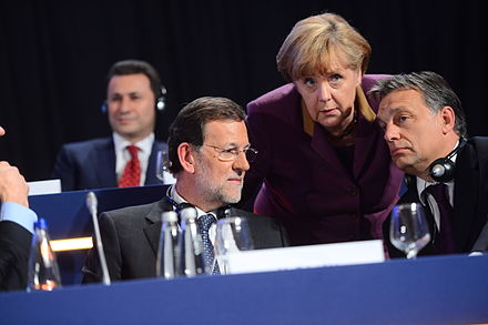 Conservative leaders Angela Merkel, Mariano Rajoy and Viktor Orban meet at congress of European People's Party in 2012 EPP Congress 3623 (8097362956).jpg