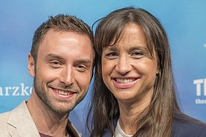 Eurovision Song Contest 2016 - Måns Zelmerlöw and Petra Mede, hosts of the Eurovision Song Contest 2016.